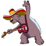 Bear in hat playing guitar. Royalty Free Stock Photos