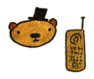 Bear with hat and telephone. Clip art illustration of a bear with top hat and a phone Royalty Free Stock Images