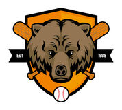 Bear head baseball mascot Royalty Free Stock Photos