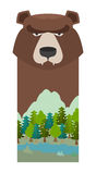 Bear. Head grizzly bear. Template for reserve and Forest Park. L Stock Photography