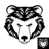 Bear Head Logo or Icon. In black and white. This is vector illustration ideal for a mascot and T-shirt graphic. Inversion version included Stock Photo