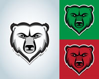 Bear head mascot illustration. Black and white version. T-shirt  design. Isolated  illustration. Royalty Free Stock Images