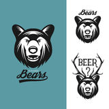 Bear head monochrome vintage illustration Royalty Free Stock Photo