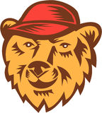 Bear Head Wearing Hat Woodcut Royalty Free Stock Images