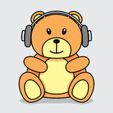 Bear with headphones Stock Photo