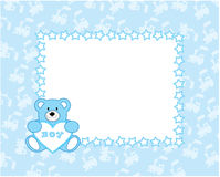 Bear heart. The beautiful nursery frame for text with bear in the manner embroider. Vector illustration Royalty Free Stock Image