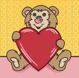 "Bear Heart. Vector art in Illustrator 8. A cute teddy bear holding a big heart waiting for your own ""love"" message. Outline, color and background on separate Royalty Free Stock Images"