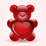 Bear with heart. A red bear is holding a heart Royalty Free Stock Image