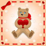 Bear with heart on the background Stock Photos