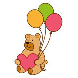 Bear with heart and balloons Stock Image