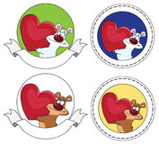 Bear and heart banner Stock Images