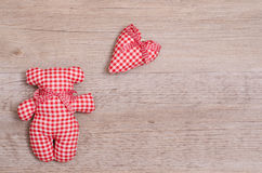 Bear and Heart of cloth Royalty Free Stock Photography