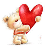 Teddy bear with the big red heart.Childish illust. Cute bear with heart for lovely card Stock Photo