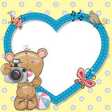 Bear with heart frame Royalty Free Stock Images
