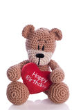Bear with heart happy birthday heart pillow. Teddy bear with heart happy birthday heart pillow Royalty Free Stock Images