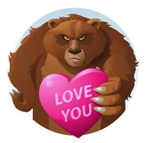 Bear. Heart. Love. Unsmiling bear with a great love. Cartoon styled vector illustration. Elements is grouped for easy edit. No transparent objects Stock Image