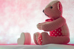 Bear with Heart. On pink background concept valentine Stock Photography
