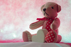 Bear with Heart. On pink background concept valentine Royalty Free Stock Photo