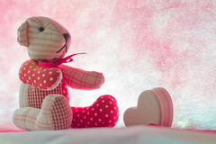 Bear with Heart. On pink background concept valentine Royalty Free Stock Images