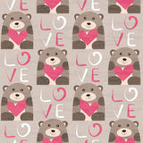 Bear with heart seamless pattern Royalty Free Stock Photography