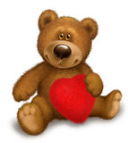 Bear with heart. Teddy bear with a red heart on a white background Royalty Free Stock Photo