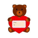 Bear with heart on a white background. Brown bear with heart on a white background royalty free illustration