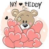 Bear in hearts Stock Image