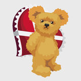 Bear hides red heart, cute vector character Royalty Free Stock Images