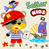 Cute pirate. Bear and his crew ready to looking for treasure with wooden sailboat, vector cartoon. EPS 10 Stock Images