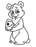 Bear hive honey coloring pages Royalty Free Stock Photography