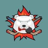 Bear Hockey Logo. Vector illustration Stock Images