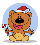 Bear holding a candy cane. Happy christmas teddy bear holding a candy cane to the blue circle vector illustration