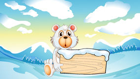 A bear holding an empty wooden board at the snowy mountain Royalty Free Stock Photos