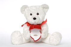 Bear Holding Engagement Ring. White teddy bear with engagement ring in heart shaped ring box stock image