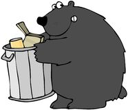 Bear Holding A Garbage Can. This illustration depicts a black bear holding a can full of garbage Stock Photography