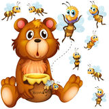 Bear holding honey jar and bees flying around Royalty Free Stock Photography