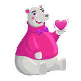 Bear holding pink heart. Stock Photography