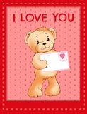 Bear Holds Envelove with Heart Festive Postcard. Soft toy bear holds envelope with heart festive postcard with I love you sign cartoon flat vector illustration Royalty Free Stock Image