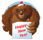 Bear holds Happy New Year card. Cartoon styled vector illustration. Elements is grouped and divided into layers for easy edit. No transparent objects Royalty Free Stock Images