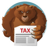 Bear holds tax letter. Cartoon styled vector illustration. Elements is grouped and divided into layers for easy edit. No transparent objects Royalty Free Stock Photography