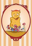 Bear on holiday. Surrounded by flowers. Vector illustration Royalty Free Stock Photography
