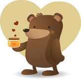 Bear and Honey Stock Photo