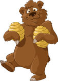 Bear and honey. Bear with honey on a white background, vector Royalty Free Stock Image
