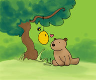 Bear, honey and bee. A sweet bear near an hive and a bee. Digital illustration vector illustration