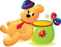 Bear with honey and the butterfly. Cheerful bear cub with honey and the butterfly. Bear cub in a hat and a tie. Cartoon stile. Without a transparency Royalty Free Stock Images