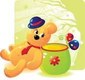 Bear with honey and the butterfly Stock Photos