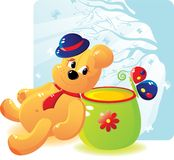 Bear with honey and the butterfly. Cheerful bear cub with honey and the butterfly. Bear cub in a hat and a tie. Cartoon stile. Vector will be aditional Royalty Free Stock Photo