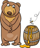 Bear with honey cartoon illustration Stock Image