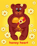 Bear with honey heart Royalty Free Stock Images