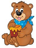 Bear with honey theme image 1 Stock Images